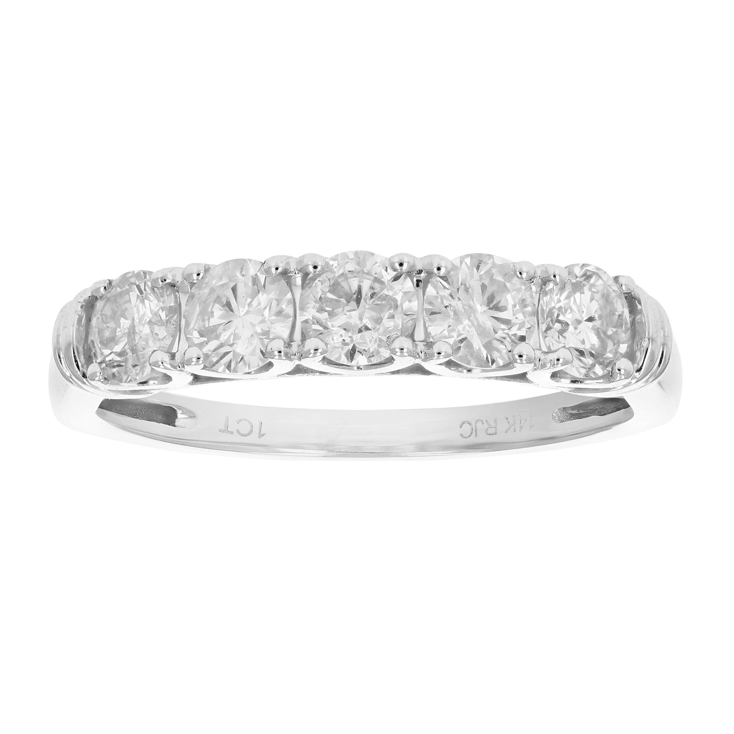 1 CT 5 Stone Diamond Ring 14K White Gold in Size 7