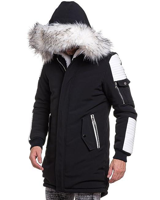 PROJECT X Parka Homme Long Noir et Simili Cuir Blanc Fourrure Couleur: Noir Taille: XLXXL