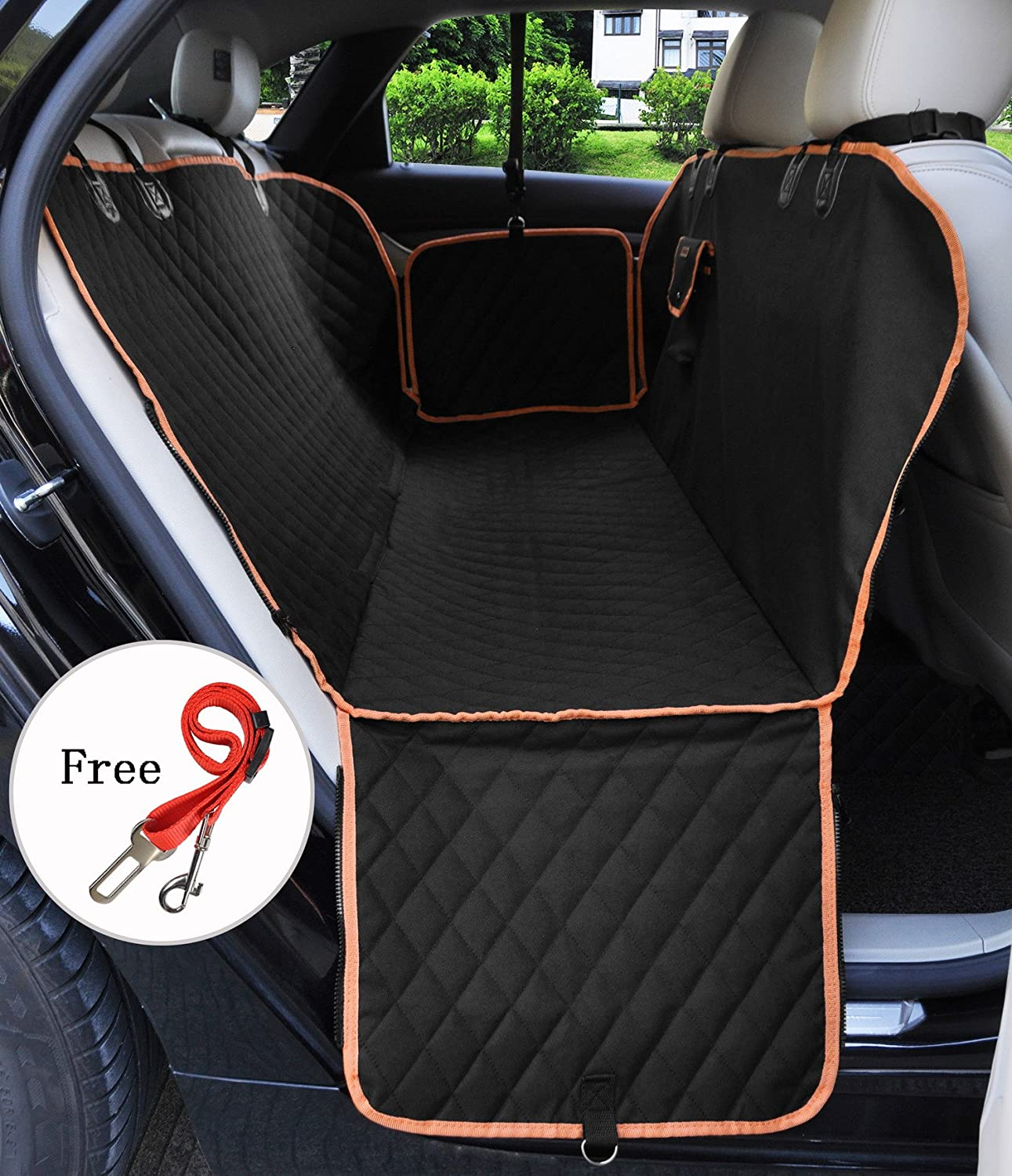 Back Seat Cover Pet Seat Covers Car Waterproof Dog Back Seat Cover Hammock Style Zipper Design Predector Washable Universal Dog Car Cover Seat for Cars Truck and SUVs Black