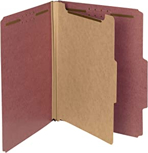 """Smead 100% Recycled Pressboard Classification File Folder, 1 Divider, 2"""" Expansion, Letter Size, Red, 10 per Box (13724)"""