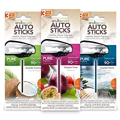 Enviroscent Auto Sticks Value Pack - Solvent-Free Air Freshener Sticks for Your Car - 3 Pack with 9 Sticks (Sampler Pack): Automotive