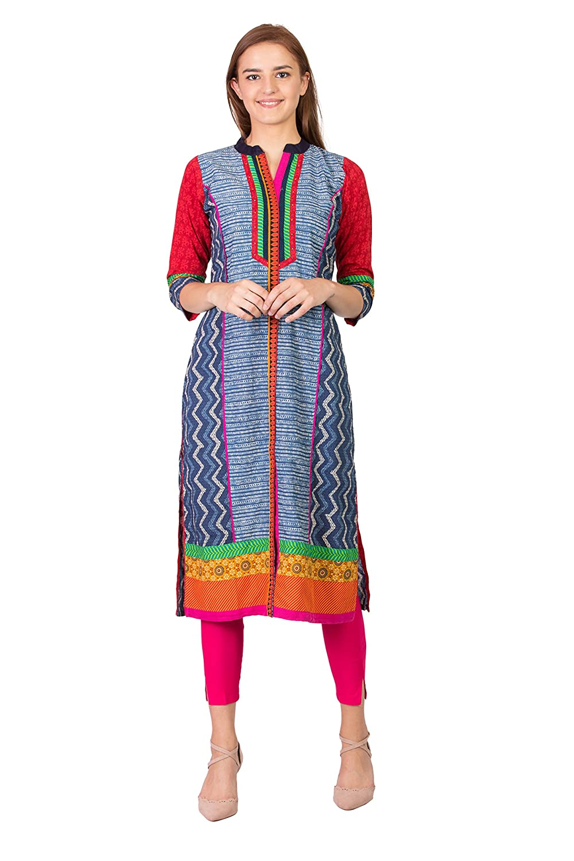 bluee (183bw1s SABHYATA Women's Kurta Ethnic Long Dress Pure Cotton Kurti Tops for Women Ladies Partywear