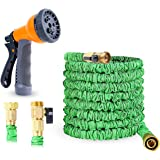 Ohuhu 75ft Garden Hose, All New 75 Feet Expandable Water Hose with 3/4 Solid Brass Fittings & 8 Function High Pressure Spray Nozzle, Flexible Expanding Hose Extra Strength Fabric