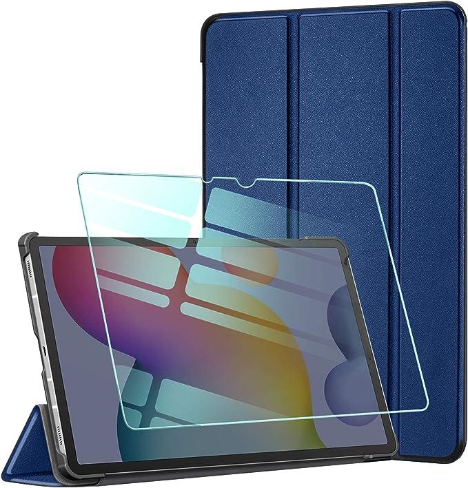 AROYI Funda y Protector de Pantalla para Samsung Galaxy Tab S7 Plus 12.4 2020, Funda Tríptica Smart Cover con Auto-Sueño/Estela, Carcasa Ligera con Soporte Función para Samsung Tab S7 Plus 12.4 (Azul):