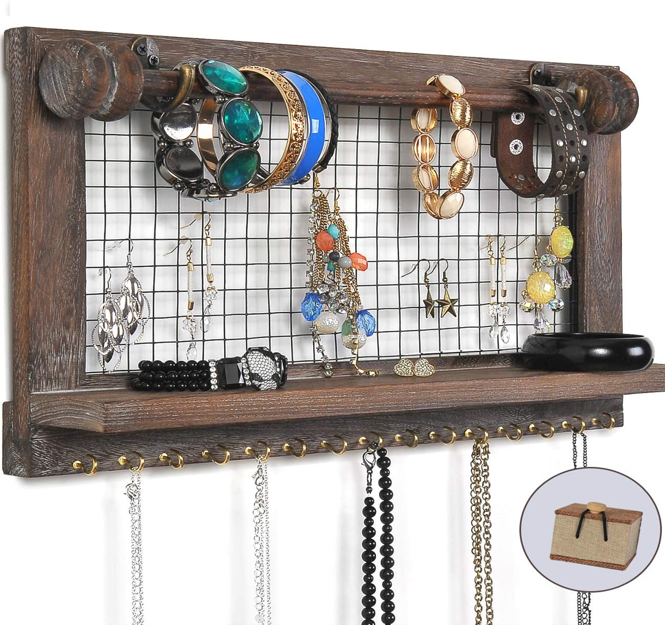 VIEFIN Rustic Wall Mounted Jewelry Organizer, Wood Shabby Chic Earring Holder with Shelf, Hanging Hook for Necklace, Removable Rod for Bracelet(Rustic,Basic)