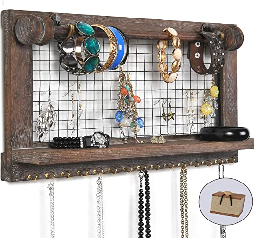 Viefin Rustic Wall Mounted Mesh Jewelry Organizer Wood Shabby Chic Earring Holder With Shelf Hanging Hook For Necklace Removable Rod For Bracelet Brown Standard Amazon Ca Home Kitchen