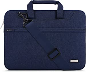 MOSISO Laptop Shoulder Bag Compatible with 13-13.3 inch MacBook Pro, MacBook Air, Notebook Computer, Polyester Sleeve with Back Trolley Belt, Navy Blue