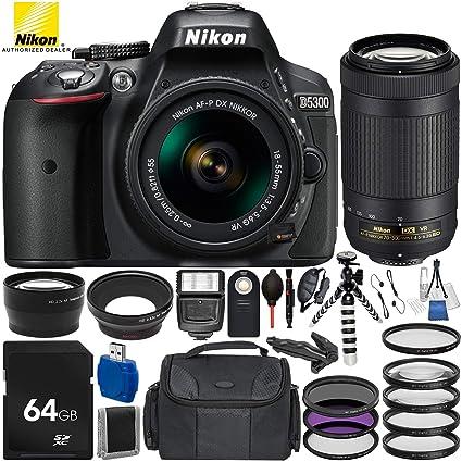 Nikon D5300 with AF-P DX 18-55mm f/3 5-5 6G VR + Nikon AF-P DX 70-300mm  f/4 5-6 3G ED VR 19PC Accessory Bundle - Includes 64GB SD Memory Card +