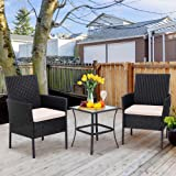 Shintenchi 3 Pieces Outdoor Patio Furniture Set, Portable Rattan Chair Wicker Furniture for Backyard Porch Lawn Garden Balcon
