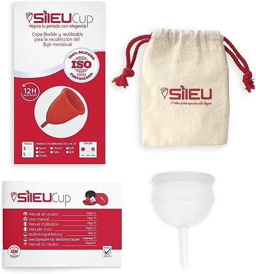 Copa Menstrual Sileu Bell para Cérvix Bajo - Copa Menstrual Suave de Iniciación con Bolsa de Regalo - Silicona de Grado Quirúrgico Aprobada por la FDA ...