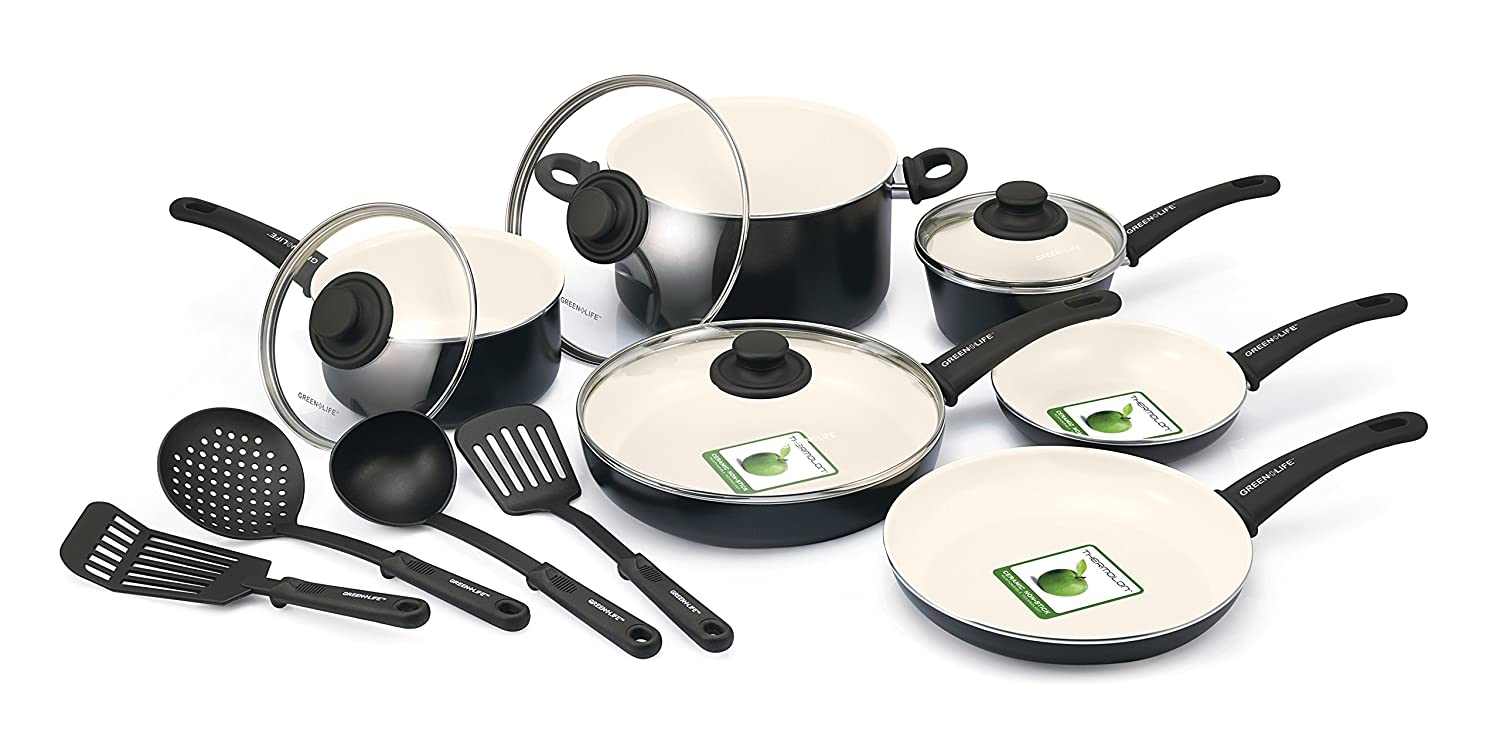 GreenLife Soft Grip 16pc Ceramic Non-Stick Cookware Set, Black CC001021-001