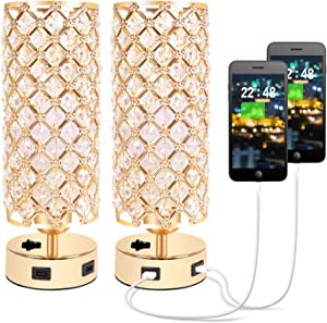 Hong-in Crystal Table Lamp with Dual USB Charging Ports, Decorative Nightstand Gold Lamps, Bedside Night Light Lamp, Small Table Lamp Set of 2 for Bedroom, Living Room, Dresser, Dining Room (2PACK)