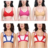 New Care Women's Nylon Cotton Mix Non-Padded Triangle Shape Adjustable Strap Bra