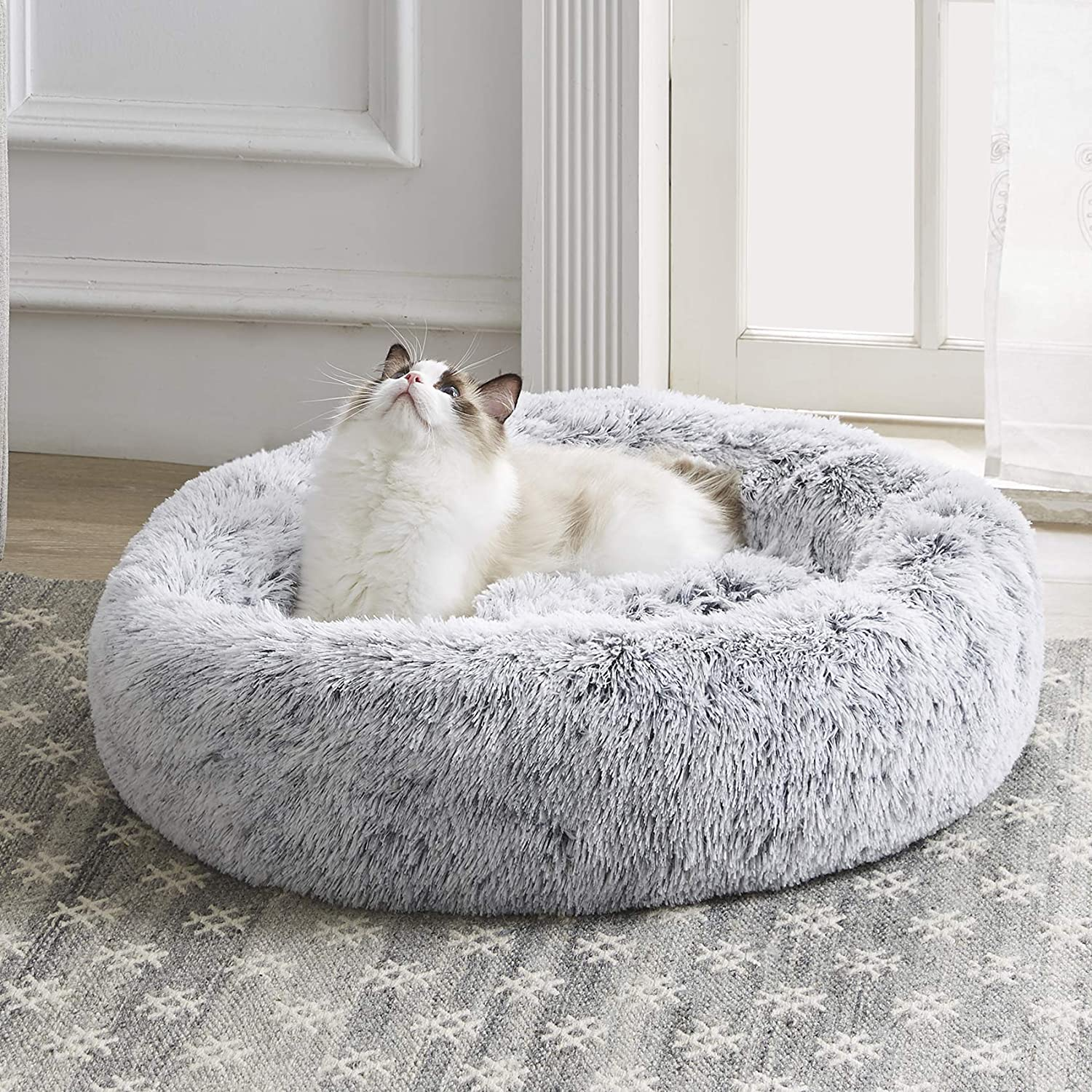"Western Home Faux Fur Dog Bed & Cat Bed, Original Calming Pup Dog Bed for Small Medium Pet, Anti Anxiety Donut Cuddler Round Warm Bed for Dogs with Fluffy Comfy Plush Kennel Cushion(20"",24"",27"")"
