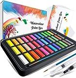 Caja de acuarelas, RATEL set de pintura de acuarelas incluye 36 colores pigmento sólido + 2 plumas de gancho de línea…