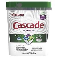 Cascade Platinum Dishwasher Pods, Actionpacs Dishwasher Detergent, Fresh Scent,...
