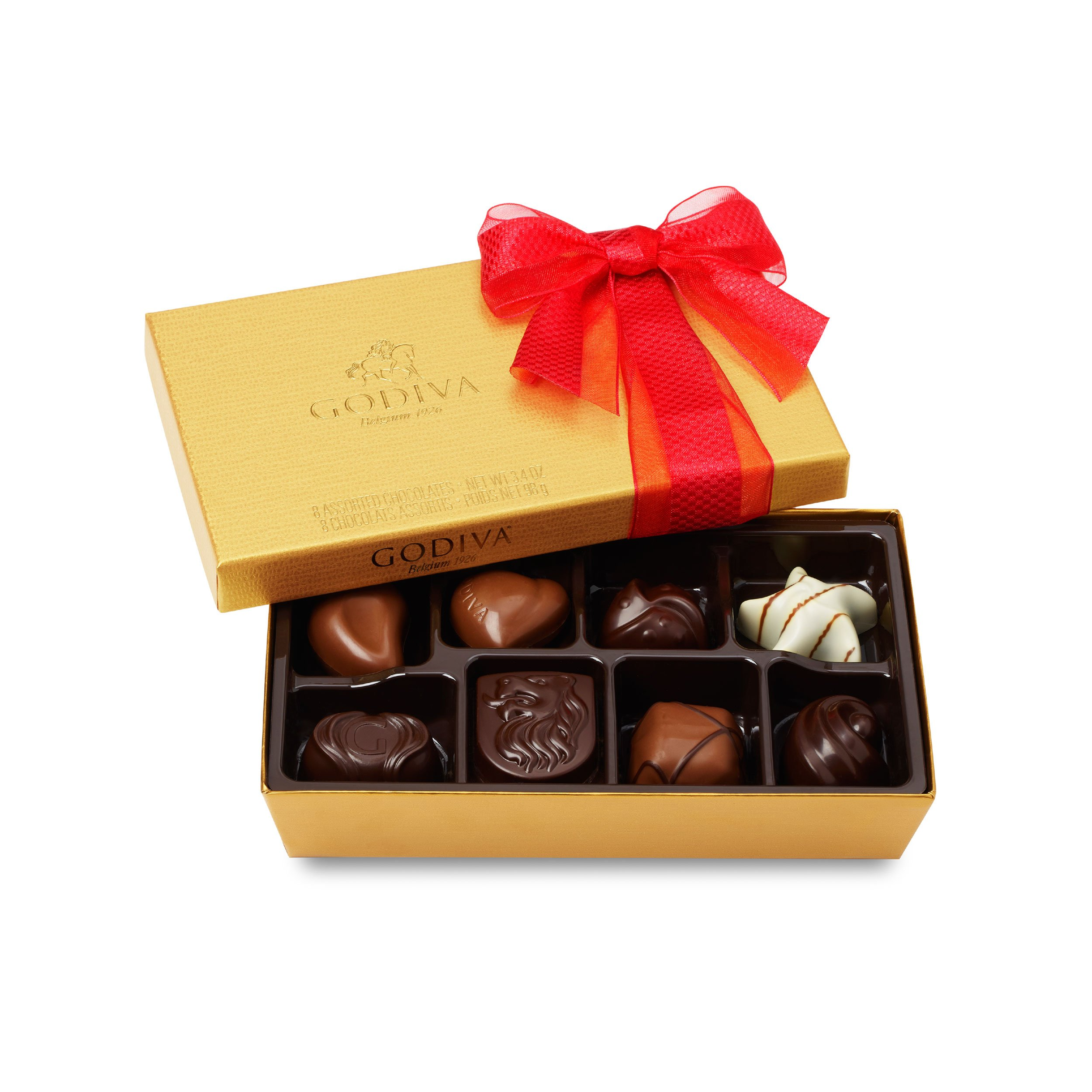 Godiva Chocolatier Mother's Day Gold Ballotin Assorted Gourmet Chocolates 8 Piece Gift Box