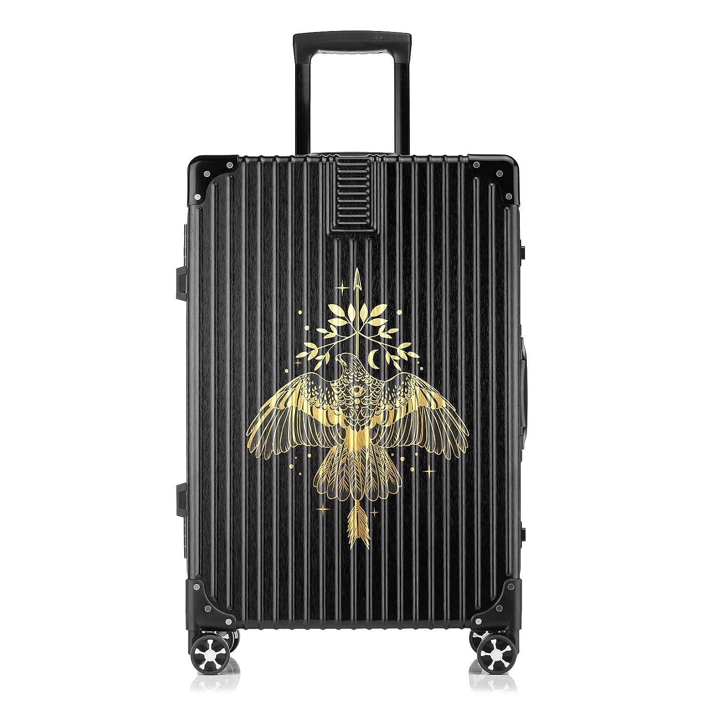 GSHCJ スーツケース カッコイイ動物 鷹 キャリーケース 20インチ おしゃれ ブラック Tsaロック搭載 プリント ハード 超軽量 軽い 機内持込 ロックファスナー 旅行 ビジネス 出張 海外 修学旅行 丈夫 便利 レディース メンズ 学生 B07RZ82TMB
