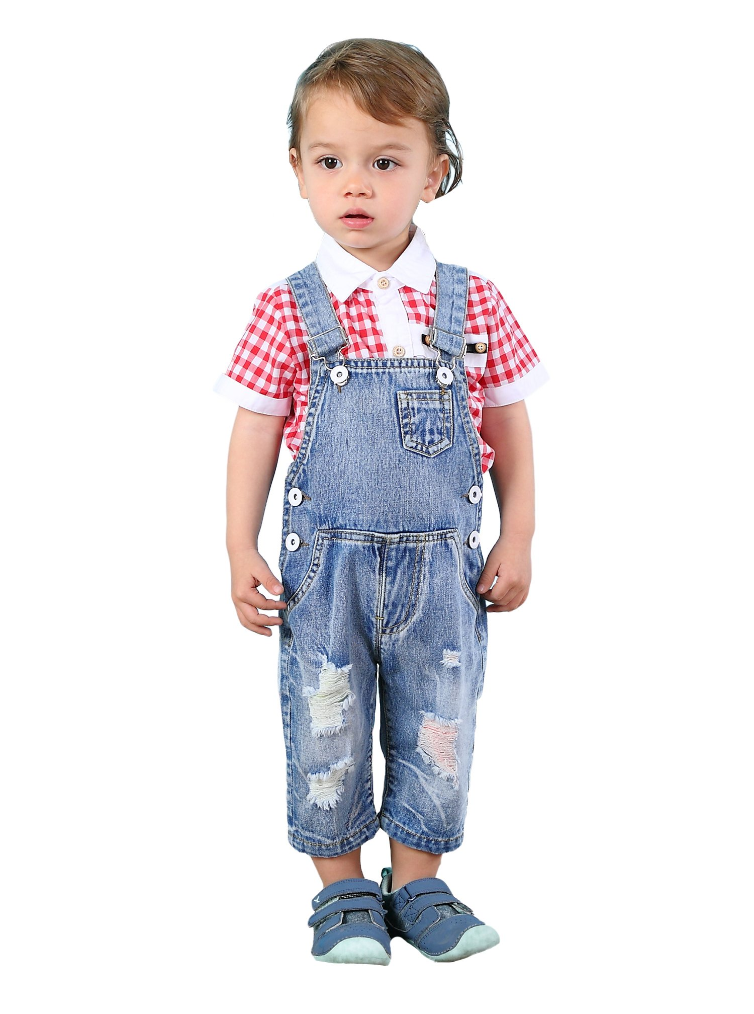 Kidscool Baby & Toddler Girls/Boys Colorful Ripped Hole Summer Jeans Shortalls,Light Blue,4-5 Years