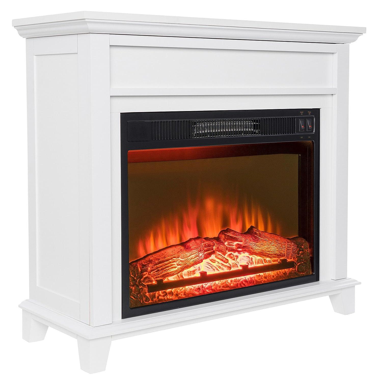 Amazoncom Golden Vantage 32 Freestanding White Wood Finish Electric Fireplace