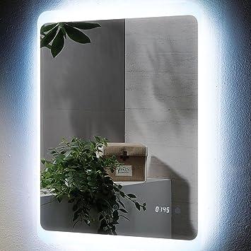 Espejo Bombilla LED Digital reloj 60 x 80 cm Cuarto de baño espejo de pared colgante espejo: Amazon.es: Hogar