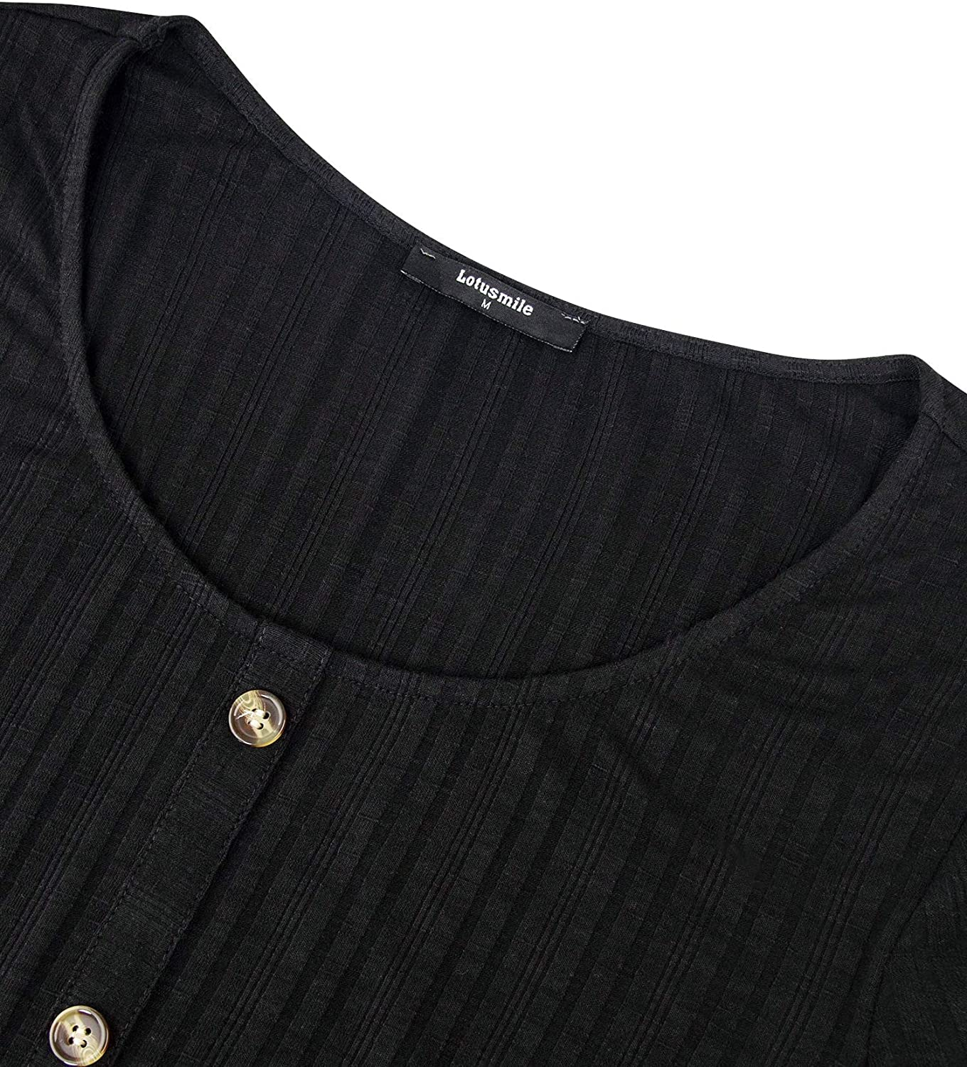 Lotusmile Womens Casual Roll-Up 3//4 Sleeve Knit Ribbed Tops Loose Button Tunic Shirts