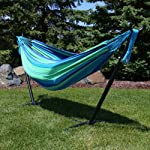 Sunnydaze Brazilian Double Hammock with Stand and Carrying Pouch