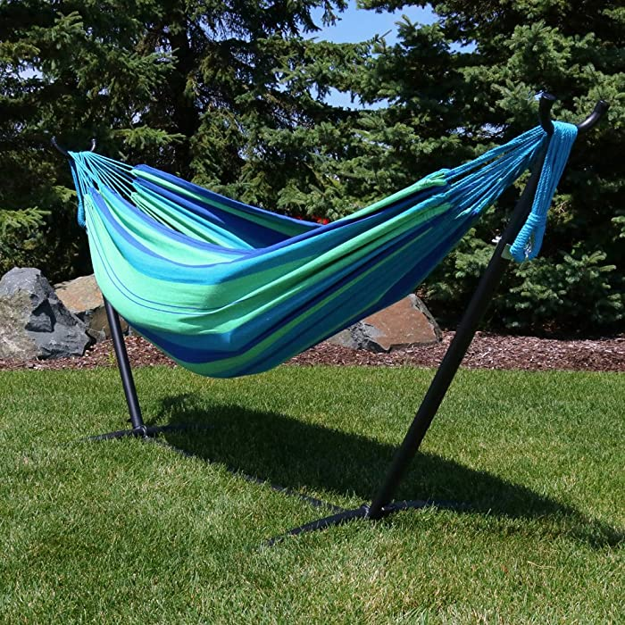 Sunnydaze Brazilian Double Hammock with Stand and Carrying Pouch, 2 Person Portable Bed - for Outdoor Patio, Yard, and Porch