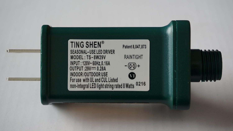 replace TS-LU3W Green Color Seasonal-Use LED Driver TS-8W29V Ting Shen US Plug Adapter