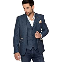 Marc Darcy Men's Dion Single Breasted Tweed Inspired Herringbone One Button Blazer in Blue