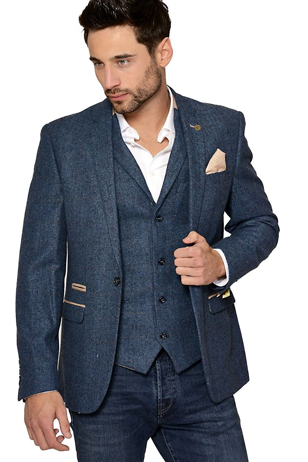 Marc Darcy Mens Designer Slim Fit Casual One Button Single Breasted Blue Herringbone Tweed Inspired Blazer Business Jacket (Chest Sizes 34-52) Marc Darcy London DION-BLAZER-BLUE