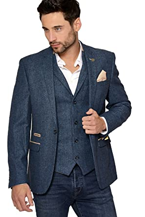 online retailer best authentic online shop Marc Darcy Men's Dion Slim Fit Herringbone Tweed Inspired Blazer in Blue |  Single Breasted with One Button Fastening