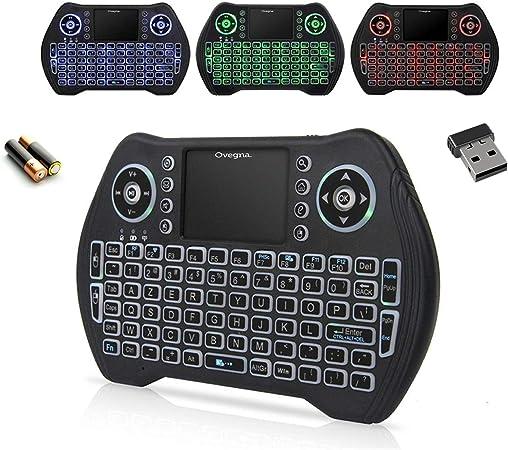Ovegna MT10: Mini teclado inalámbrico retroiluminado (AZERTY) con touchpad, para Smart TV, Mini PC, HTPC, Console, Ordenador, Raspberry 2/3, Android ...