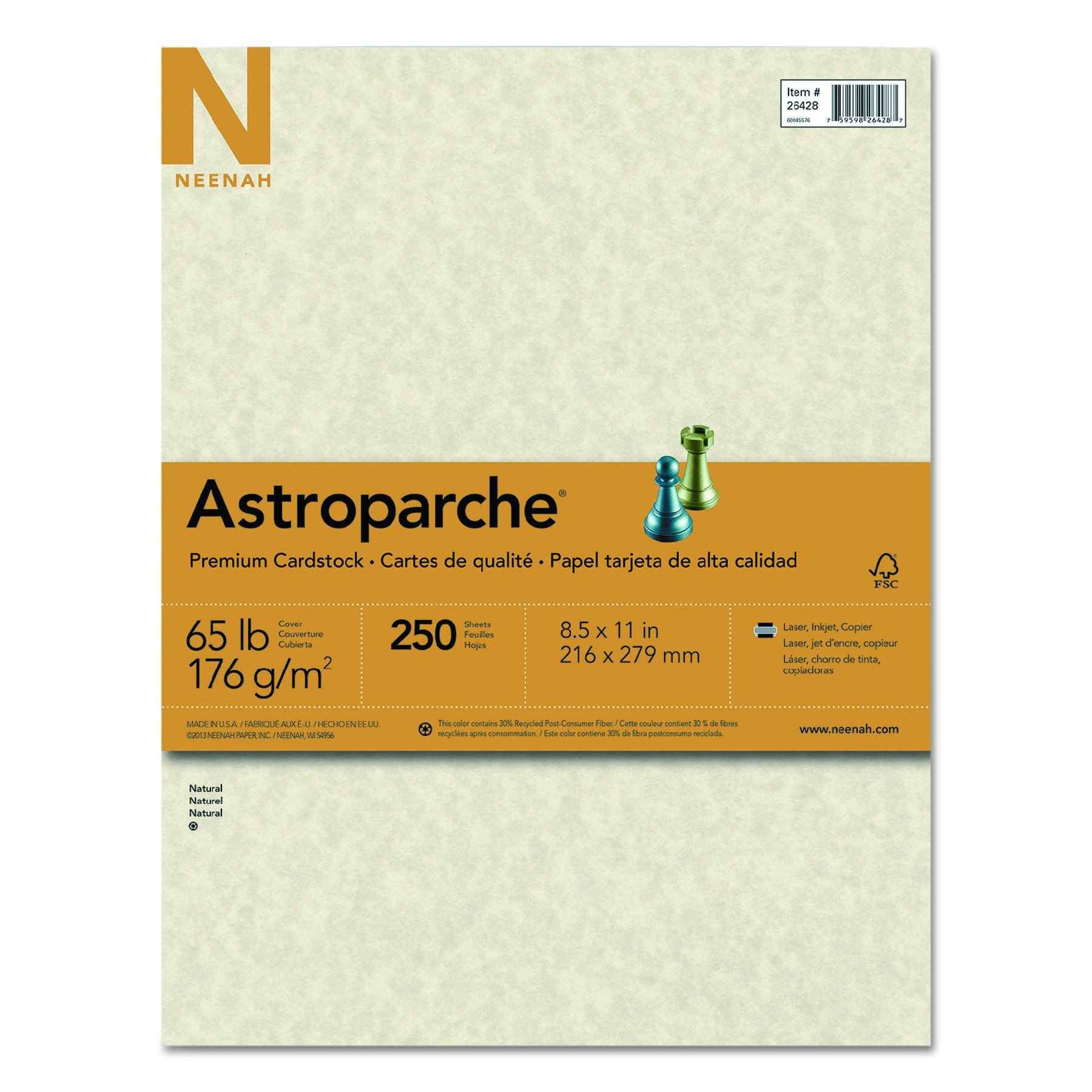Astroparche Specialty Cover Stock, 8.5'' x 11'', 65 lb/176 gsm, Natural, 250 Sheets (26428)