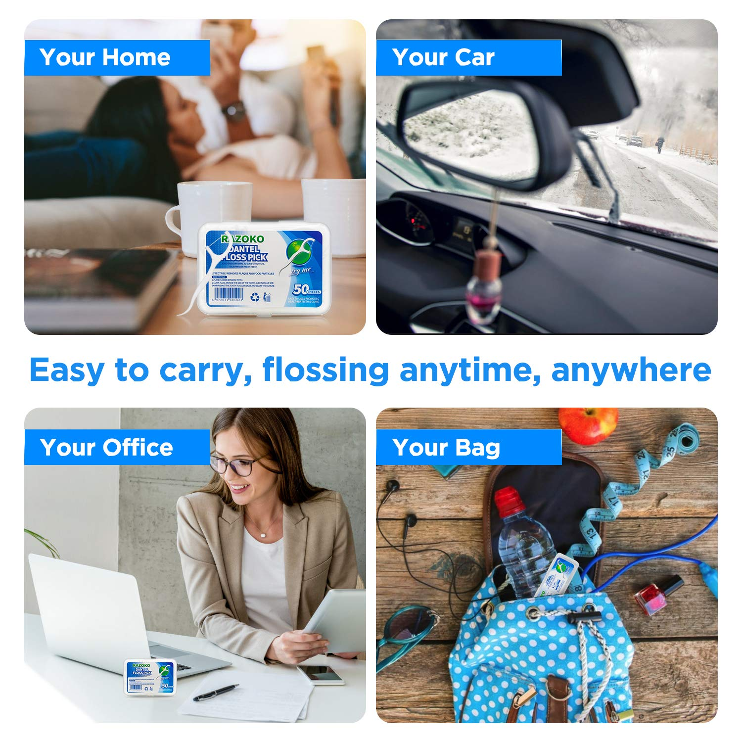 Dental Floss Picks High Toughness Toothpicks Sticks 250PCS with Portable Case and Dental Picks Perfect for Family,Hotel,Travel