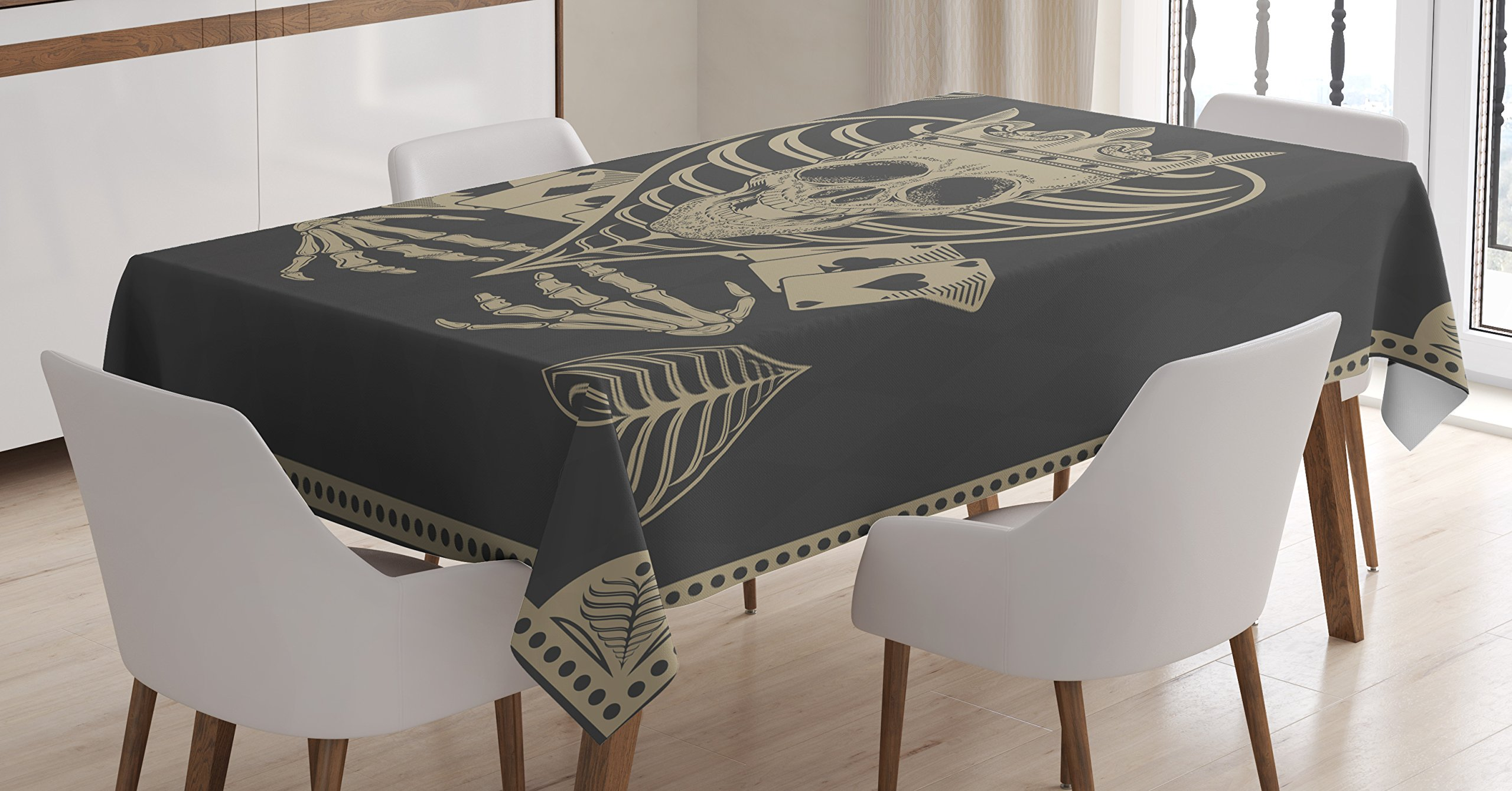 Ambesonne Skull Tablecloth, Vector Skull Poker Cards Play Game Scary Horror Image with Crown and Heart, Dining Room Kitchen Rectangular Table Cover, 60 W X 90 L inches, Dark Grey and Tan Beige