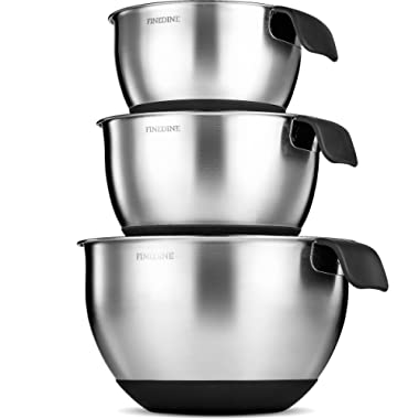 FineDine Premium Grade Stainless Steel Mixing Bowls With Comfortable Grip Handle (Set of 3) Modern Nesting Bowls Set with Measurement Marks, Easy Pouring Spout, Skid Free Bottom 1.5-2 - 2.5 Quart