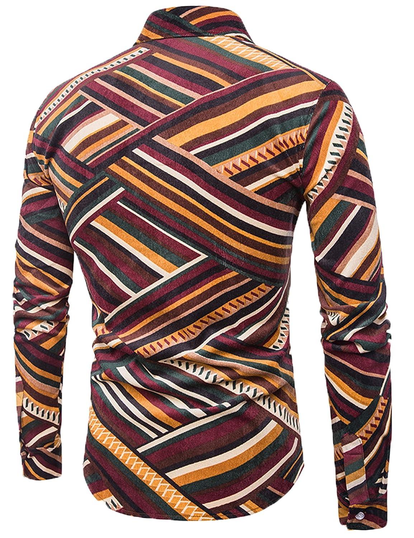 Zuckerfan Mens Long Sleeve Button Shirt Dot Patchwork Flannel Collar Casual Fashion Prom Shirts