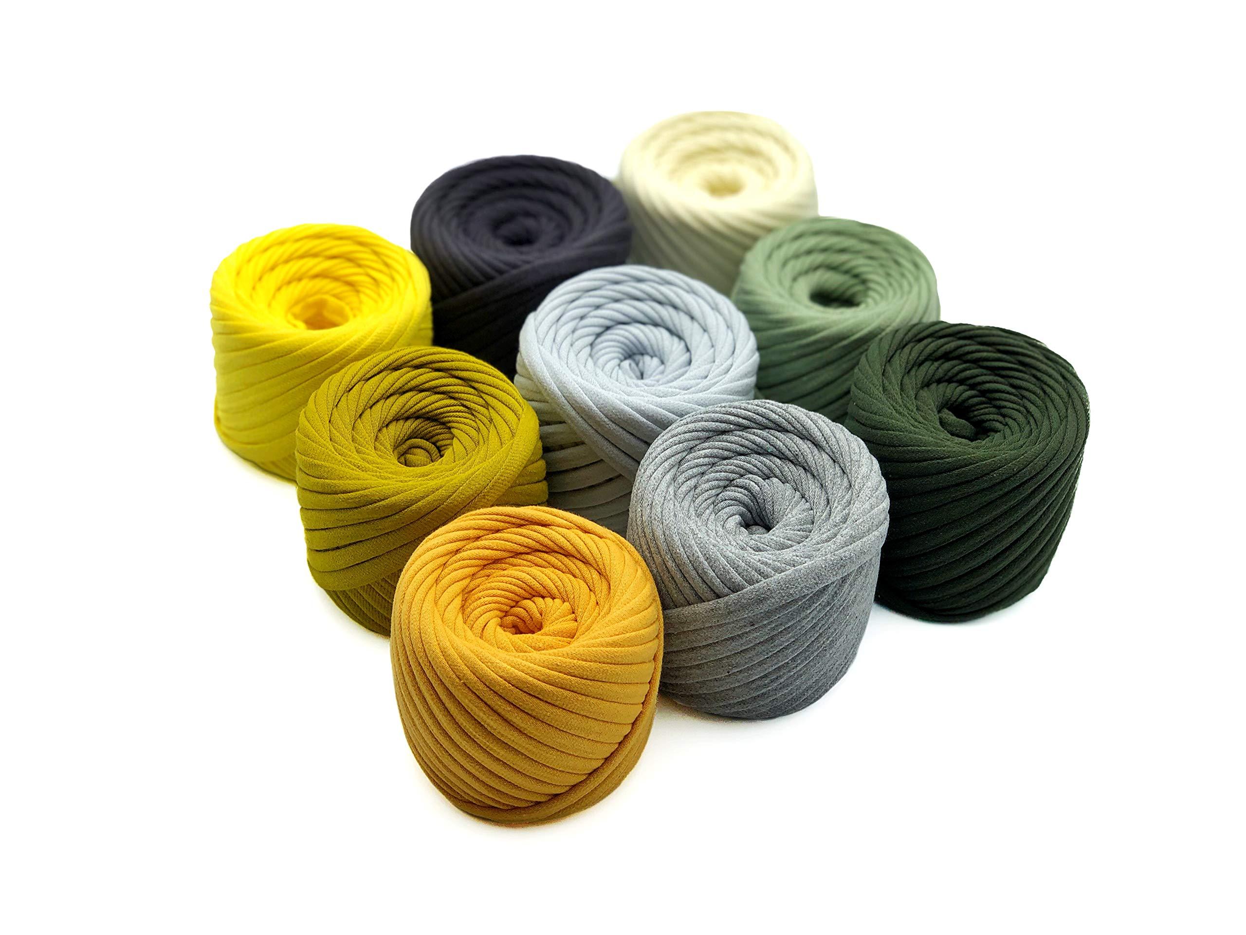 T-Shirt Yarn Fettuccini Zpagetti Set - 9 Balls Total of 196 Yards - Tshirt Yarn Kit for Crocheting - Ribbon Yarn 100% Cotton - Knitting Yarn Ball - T Yarn Organic - T-Yarn Angelina Set