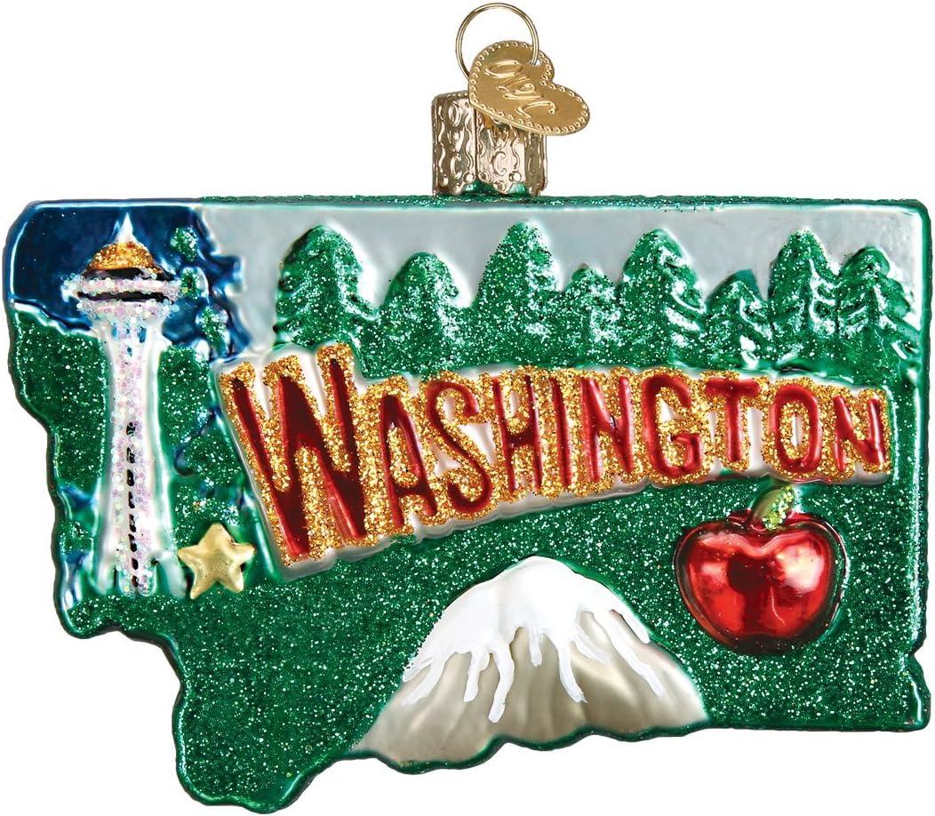Old World Christmas Glass Blown Ornament State of Washington (36199)