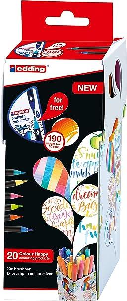 edding Color Happy Box CH20+1 - Caja con 20 Rotuladores de Color y un Brushpen, Multicolor: Amazon.es: Oficina y papelería