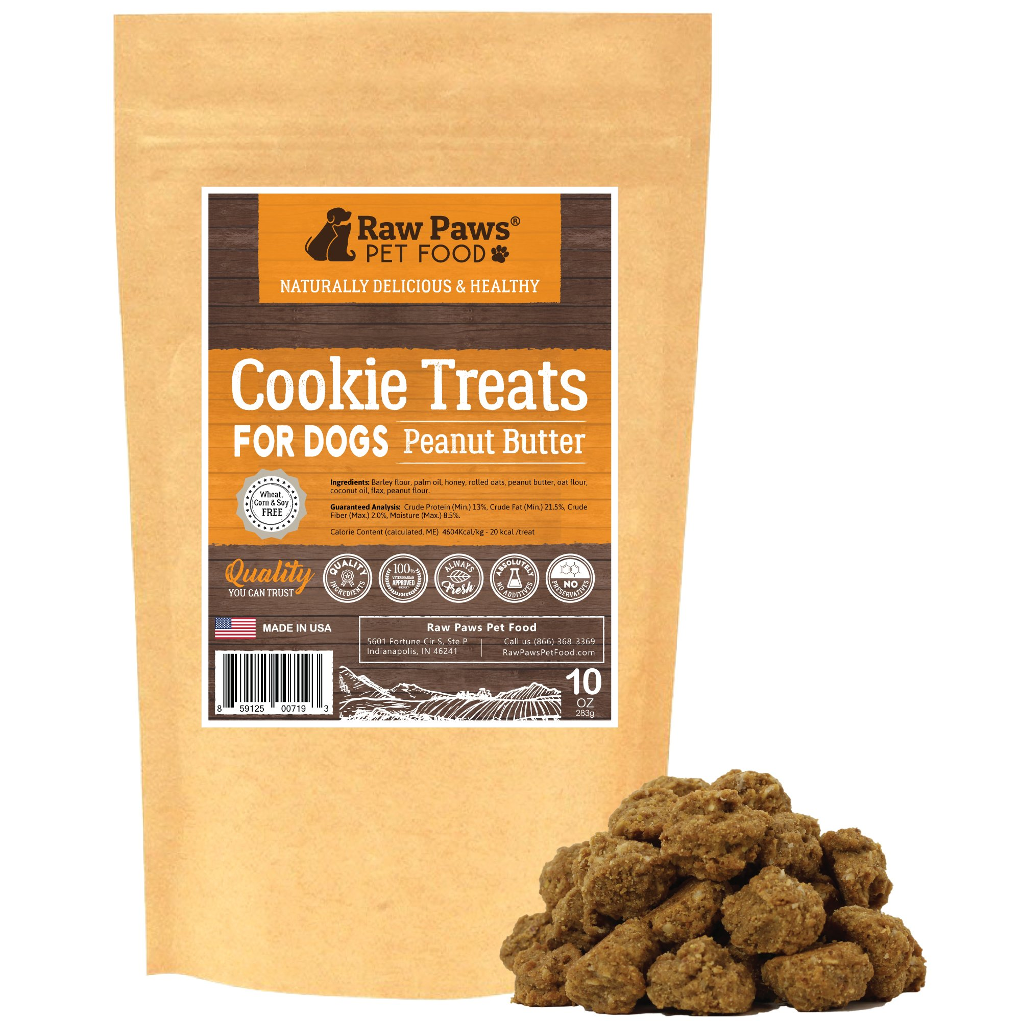 Raw Paws Pet All-Natural Peanut Butter Dog Cookies, 10-ounce - Made in USA Only - Peanut Butter Treats for Dogs - Wheat, Corn, Soy & Preservative Free - Peanut Butter Dog Treats