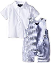 OSCAR DE LA RENTA Baby Boys Seersucker Romper (Infant)