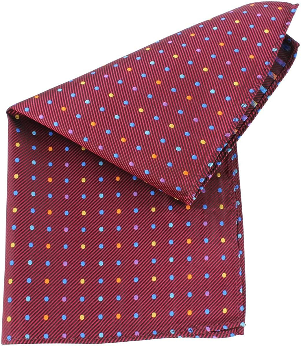 Knightsbridge Neckwear Mens Multi Pin Dot Silk Pocket Square Burgundy//Multi-colour