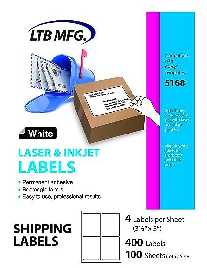 amazon com ltb mfg laser inkjet printer shipping labels white 4