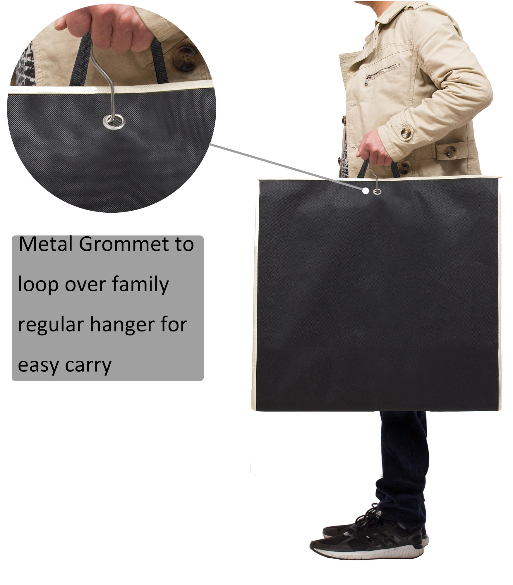 MISSLO 43'' Gusseted Travel Garment Bag with Accessories Zipper Pocket Breathable Suit Garment Cover for Shirts Dresses Coats, Black by MISSLO (Image #7)