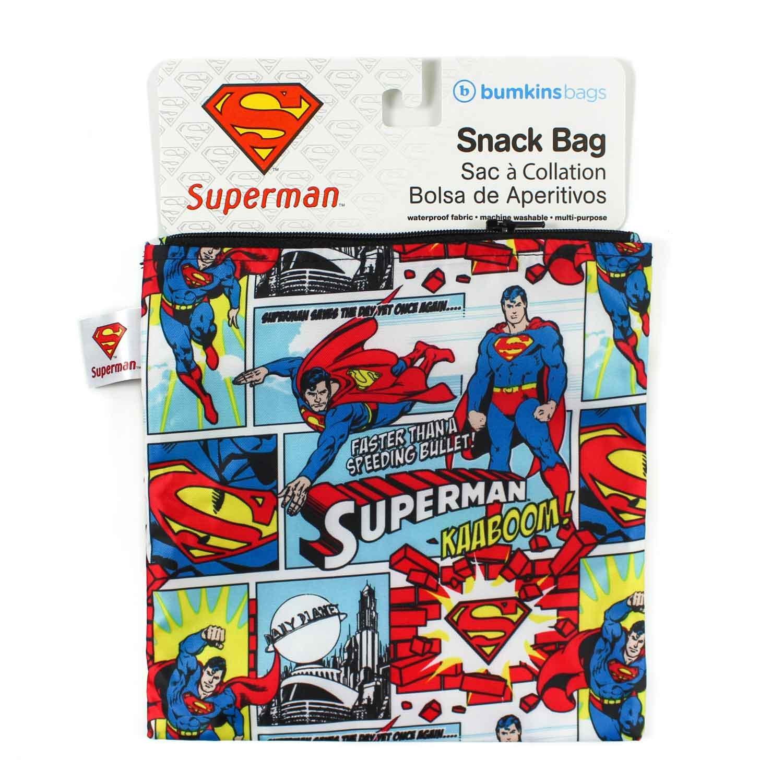 bumkins dc ics reusable snack bag large superman