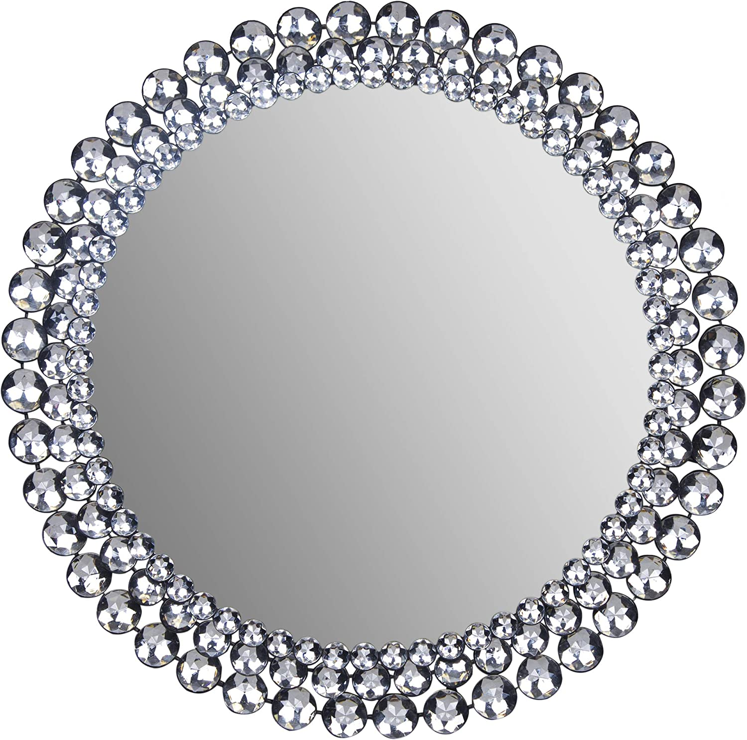 "Patton Wall Decor Round Jeweled Accent Mirror, 24"" x 24"""