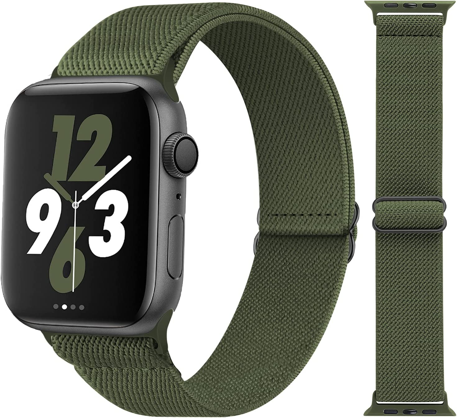 Acrbiutu Stretchy Solo Loop Nylon Bands Compatible with Apple Watch 38mm 40mm 42mm 44mm, Adjustable Braided Stretch Elastics Strap for iWatch Series 6/5/4/3/2/1 SE, Army Green 42mm/44mm