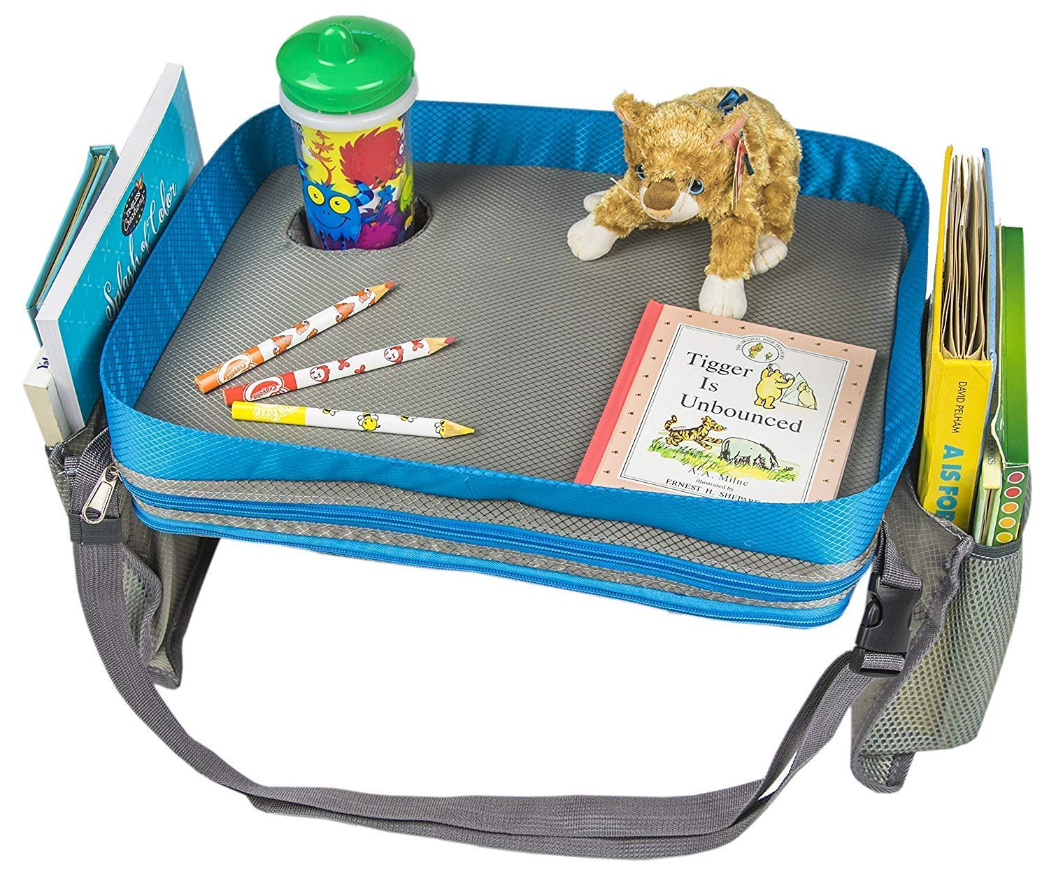 Kids Travel Activity & Snack Tray by M-Aimee- Heavy Duty Side Walls, Solid Lap Desk with Large Pockets for Storage - Portable, Waterproof & Machine Washable (Blue)